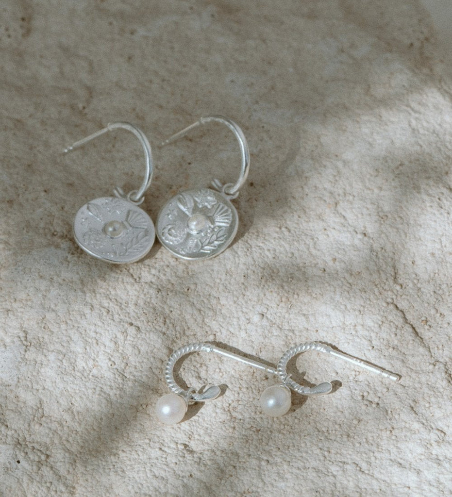 BY THE SEA HOOPS (STERLING SILVER)