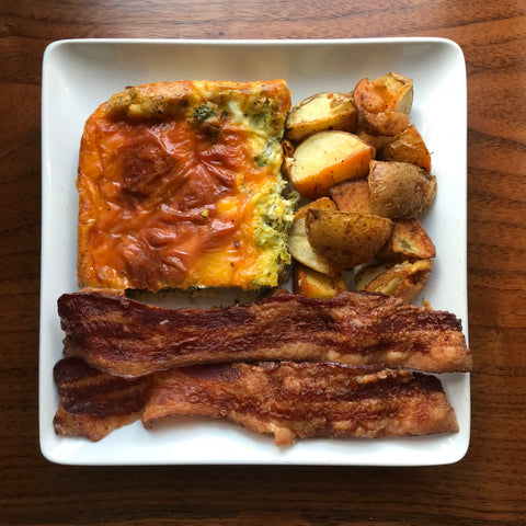 Meal - Broccoli cheddar crustless quiche, nitrate free bacon, spiced potatoes(NGI)