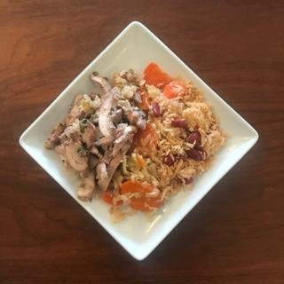 Thursday Meal Family Style (serves 4-6) - Jerk chicken thighs, Caribbean rice and beans, braised cabbage and carrots (NGI/DF)
