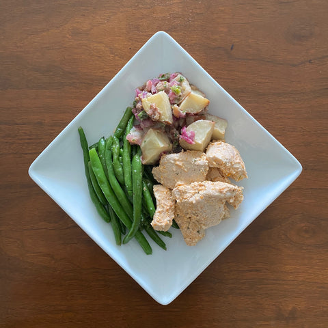 Sunday Meal - Creamy garlic organic chicken, German potato salad, green beans (NGI)