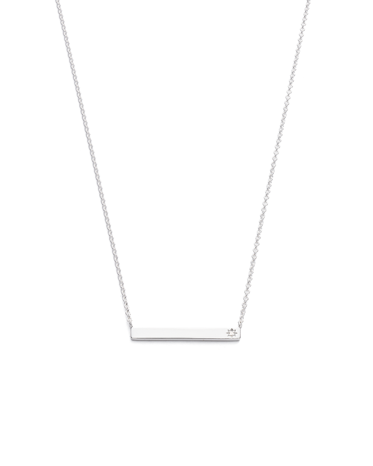 SENTIMENT DIAMOND BAR NECKLACE (STERLING SILVER)