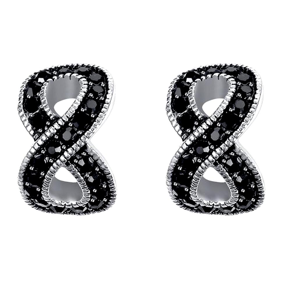 earrings unltd rok crystal black sterlingsilverinfinityear stud infinity products
