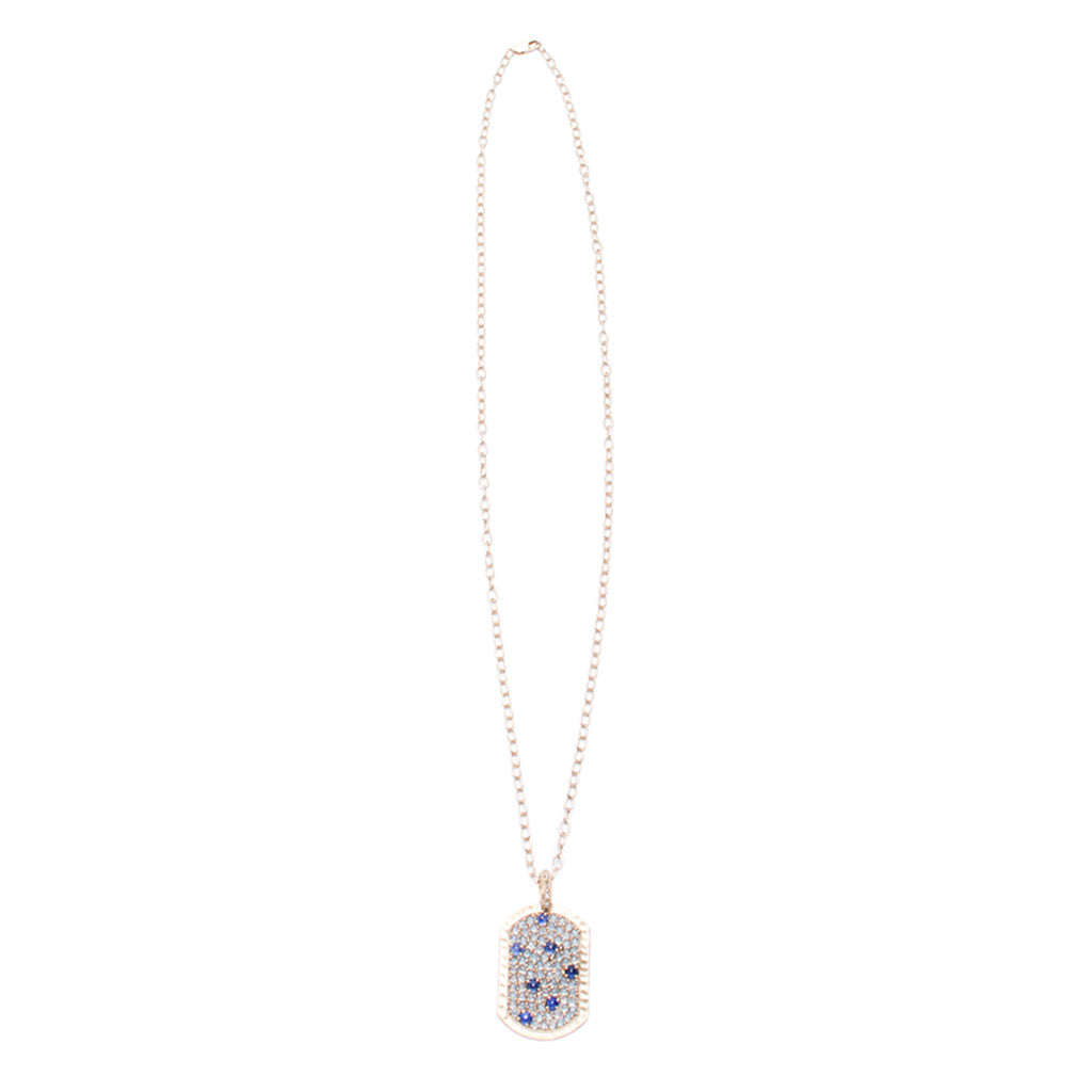 Sanlo Private Collection | R/G Chain Blue Topaz Pendant Necklace