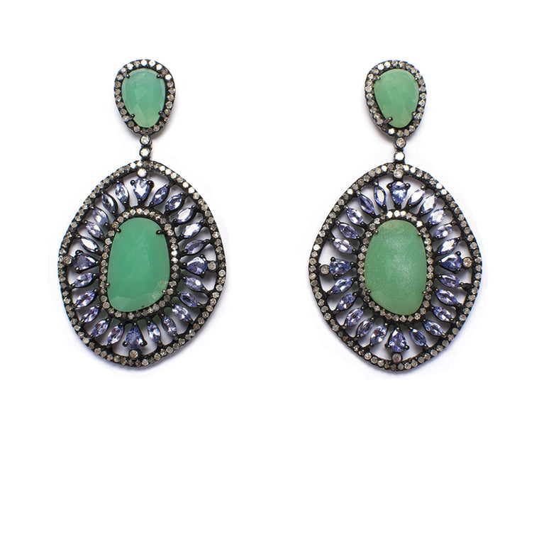 Sanlo Private Collection| Chrysoprase-Tanzanite Earrings