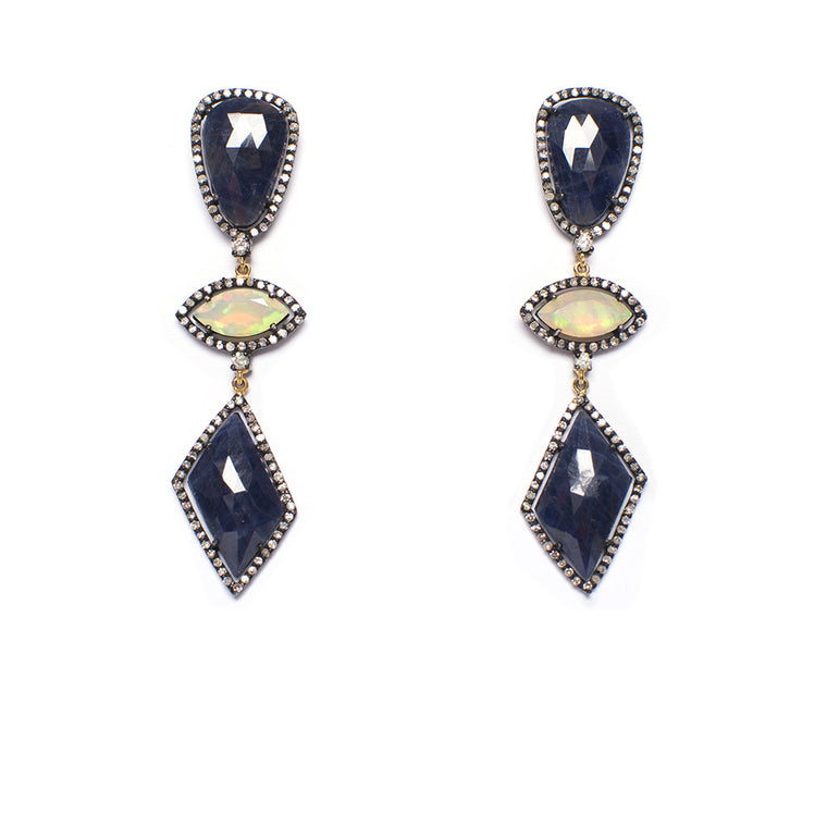 Sanlo Private Collection | Blue Sapphire-Opal Earrings