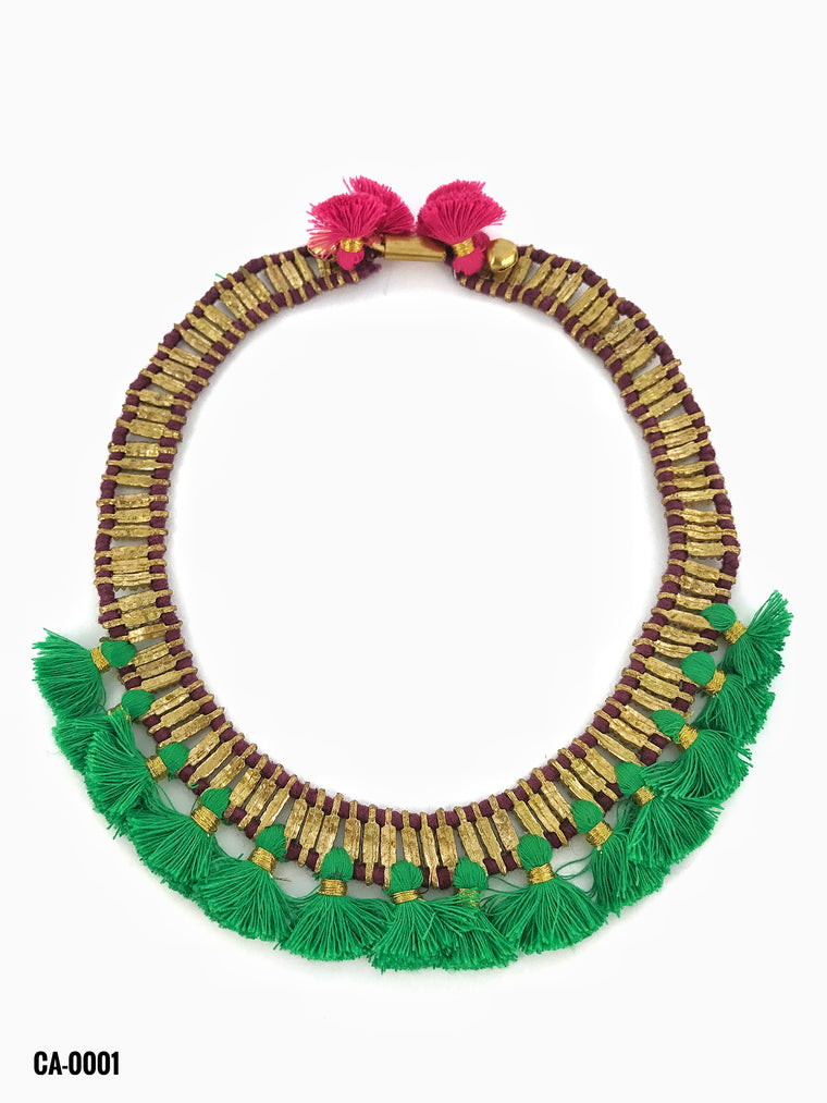Gold Choker/Green Cotton Tassels