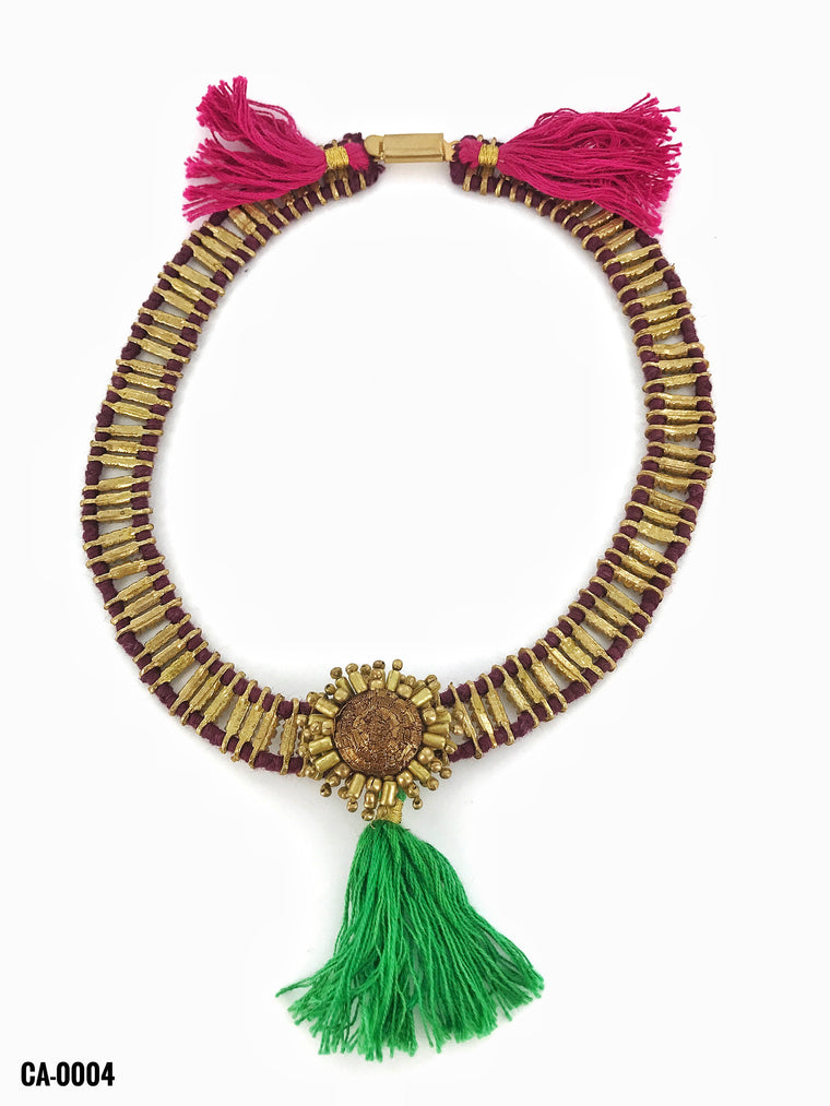 Gold Choker/Green Cotton Tassel