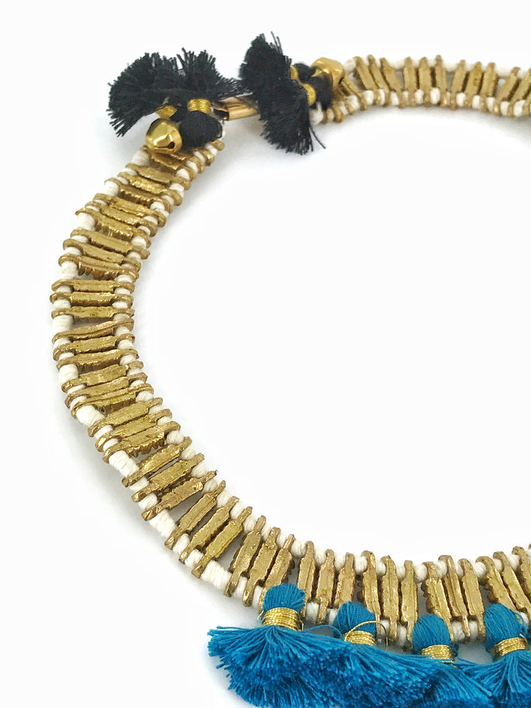 Gold Choker/Turquoise Cotton Tassels