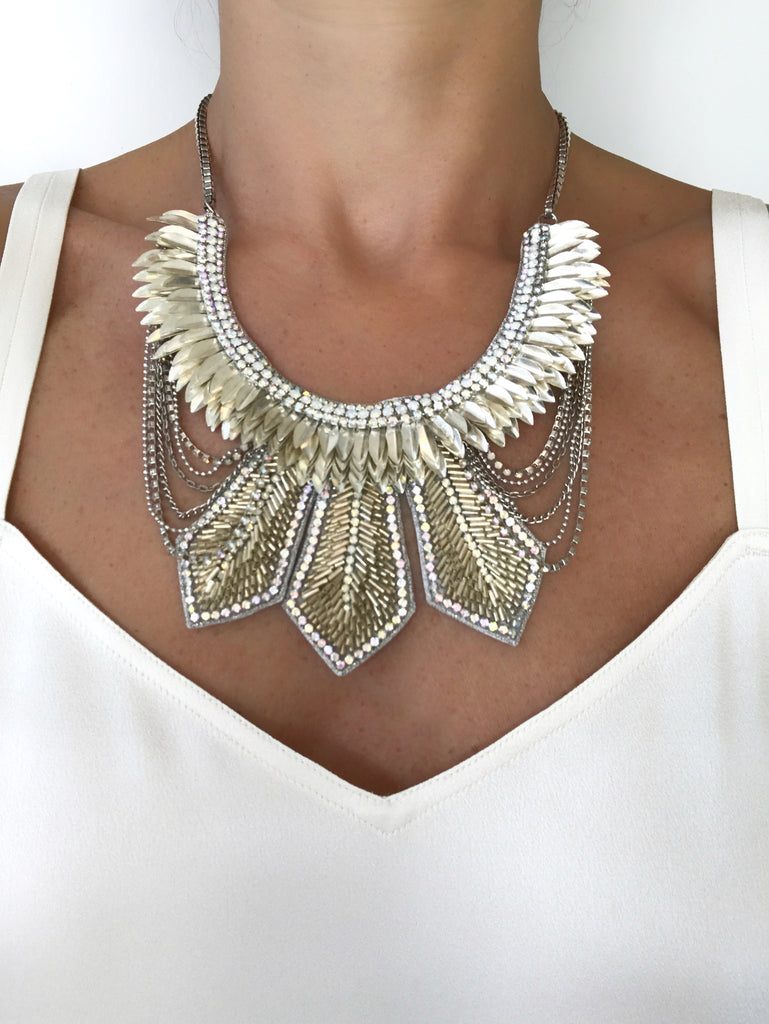 Feather Embellishment Necklace