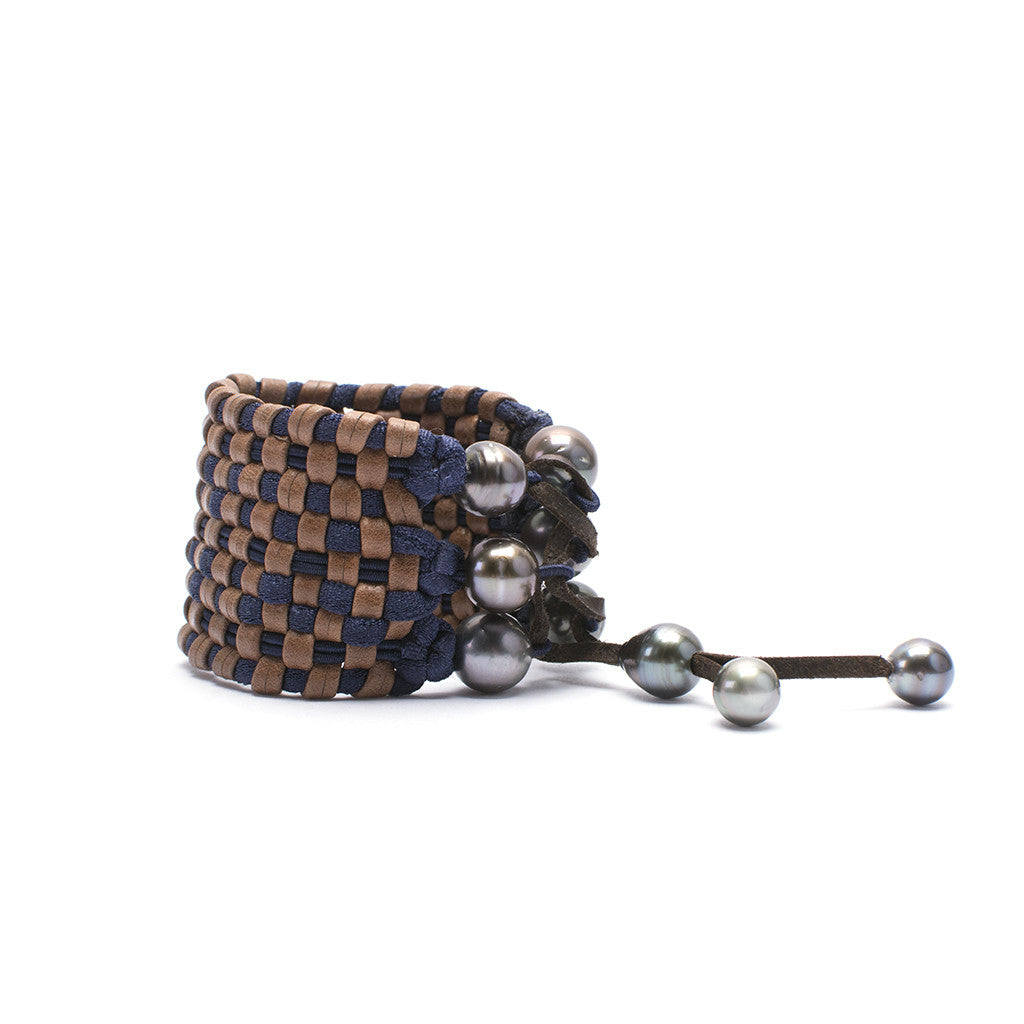 Sanlo Private Collection | Navy-Brown Stretch Cuff