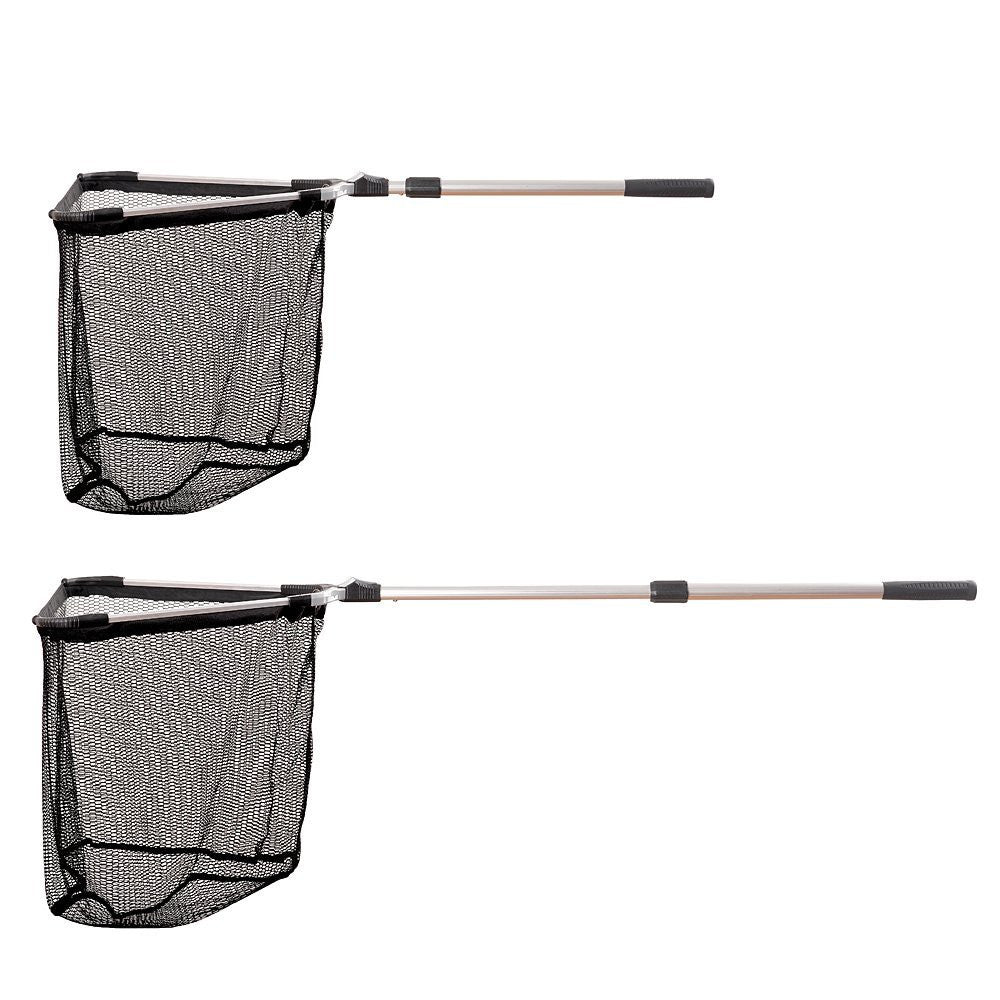 Fiblink Folding Telescoping Aluminum Fishing Landing Net with 2 Section Extending Pole Handle (Extend Length: 35