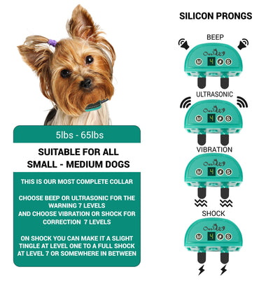 Sound or Ultrasonic and  Adjustable Shock or Vibration Bark Collar