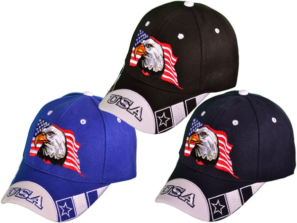 Patriotic Eagle USA Flag Embroidered Hat