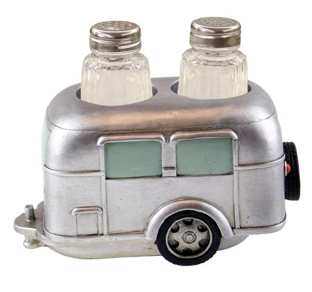 Silver Travel Trailer salt and Pepper Holder