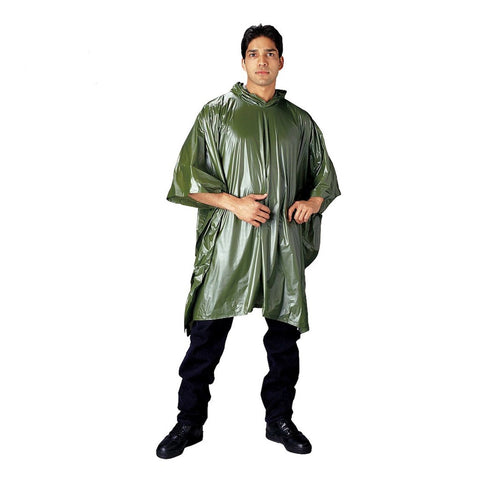 All Weather Emergency Vinyl Poncho - Green