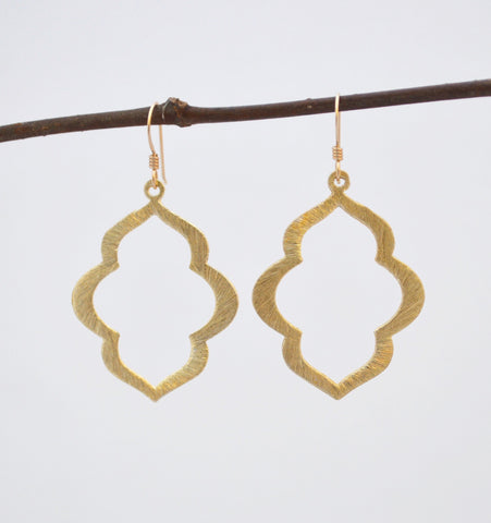 Zara Collection // Gold Flower Marquise Drop Earrings