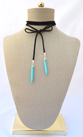 Heather Turquoise Spike Choker