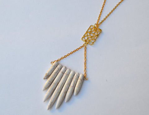 Janessa Collection // White Howlite Spike Lariat Necklace