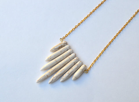 Janessa Collection // White Howlite Spike Bar Necklace