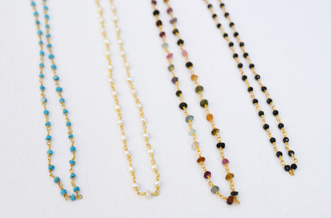 Becca Collection // Gemstone Gold Rosary Chain Choker Necklace
