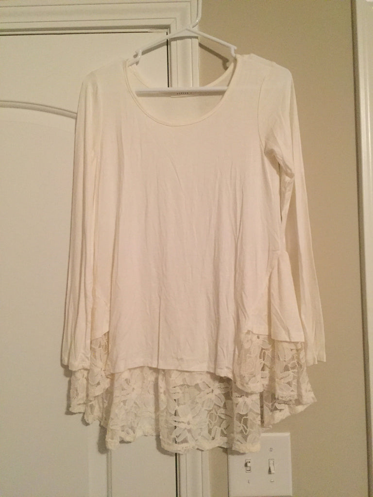 Ivory crochet hem tunic (medium)