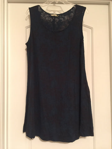 Blue/black burnout patterned dress (XL)