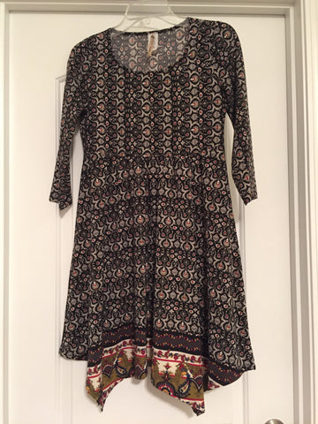 3/4 sleeve paisley dress (small)
