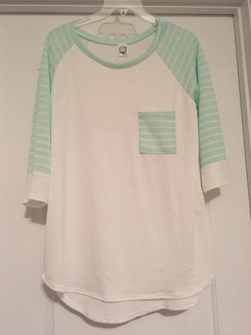 White striped sleeve top (large)