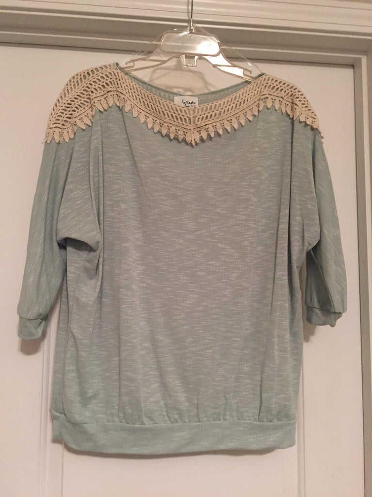 Light jade crochet accented blouse (medium)