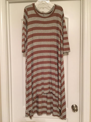 Brown/gray striped high-low dress (medium)