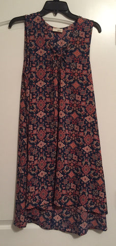 Patterned high-low dress (XL)