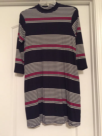 Navy striped dress (small)