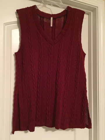 Burgundy sweater vest (large)