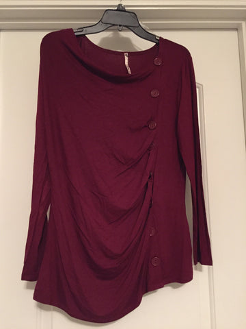 Burgundy button draped blouse (large)