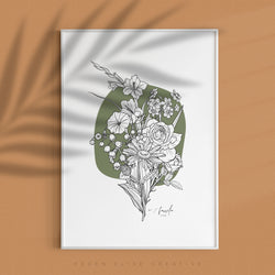 *NEW* Abstract Botanical Birth FLOWER Bouquet - personalised