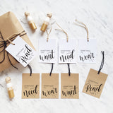 Want, Need, Wear, Read Christmas gift tags - PRINTABLE