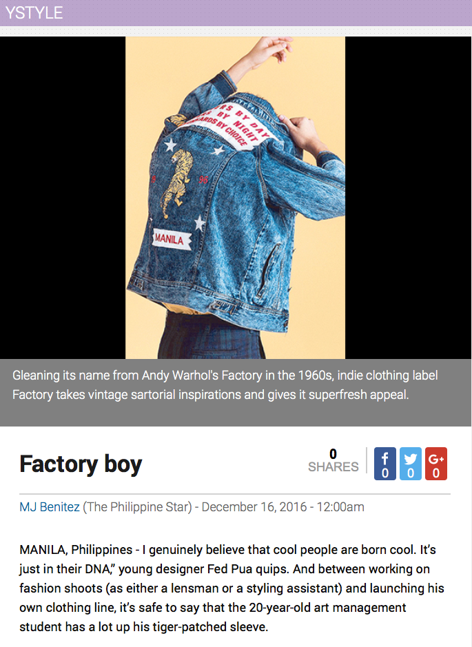 The Philippine Star // Factory Boy