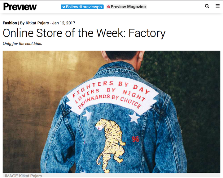 Preview Magazine // Online Store of the Week: Factory