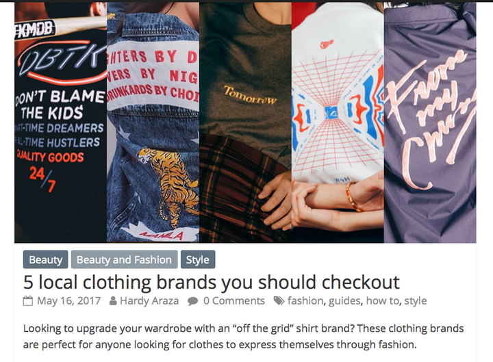 How To 101 // 5 Local clothing Brands You Should Checkout