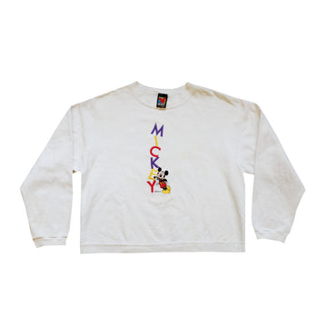 90s Mickey Embroidered Crewneck - M