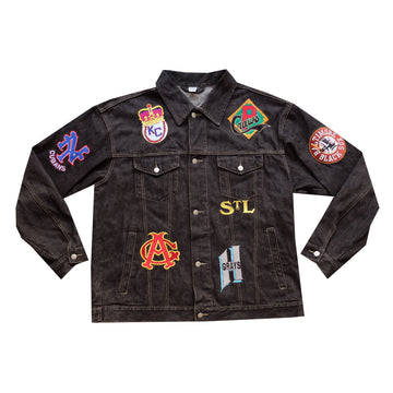 Patched Baseball Denim Jacket - 3XL