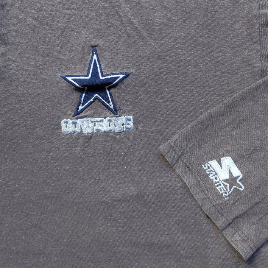 NFL Dallas Cowboys Embroidered Button Long Sleeve Tee - XL
