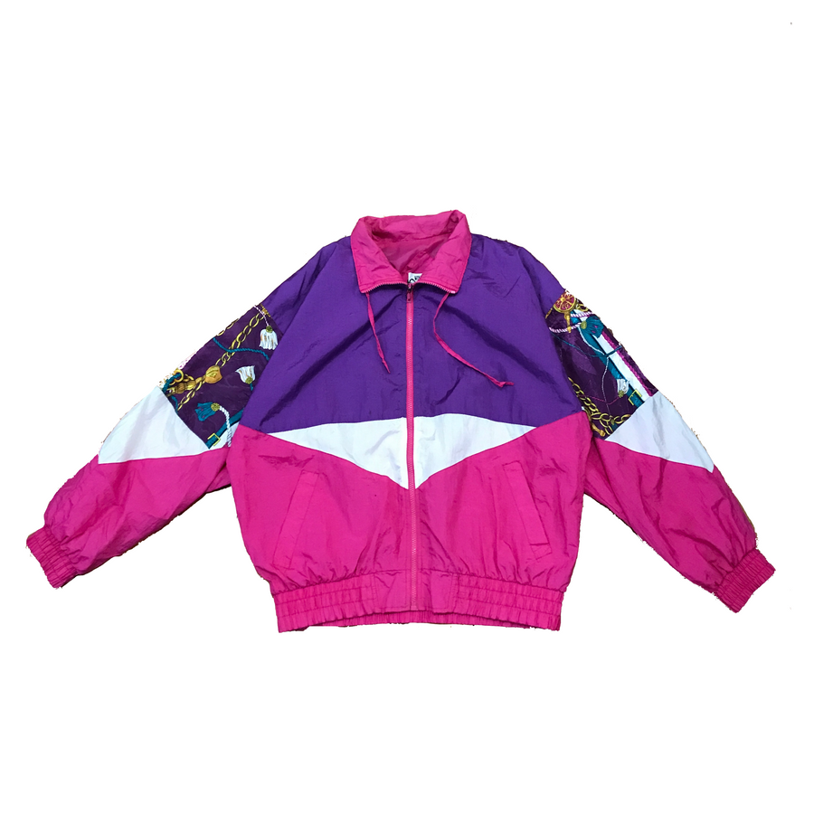 80s Pink & Purple Colorblock Windbreaker - L