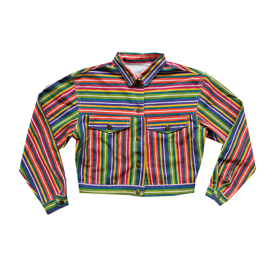 Rainbow Stripes Denim Jacket - S