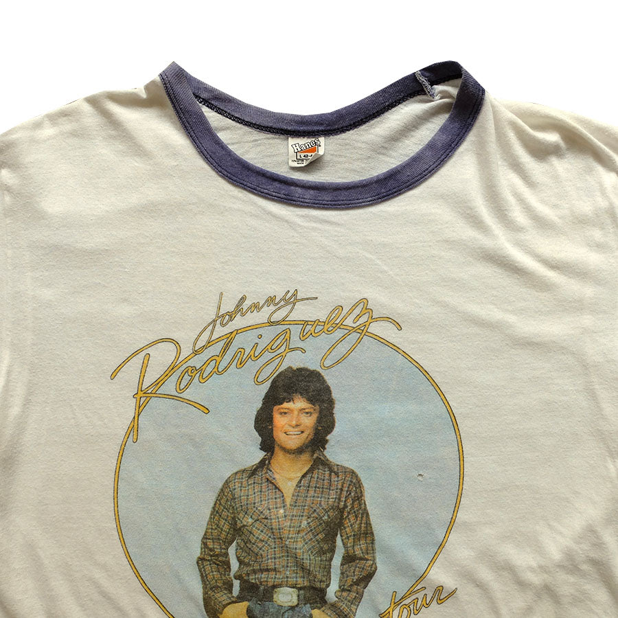 80s Johnny Rodriguez Ontown Ringer Tee - L