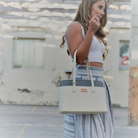 toronto tote cream and grey