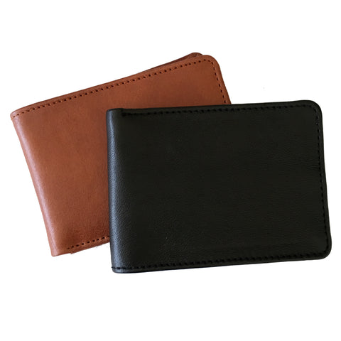 mens leather wallet stacked