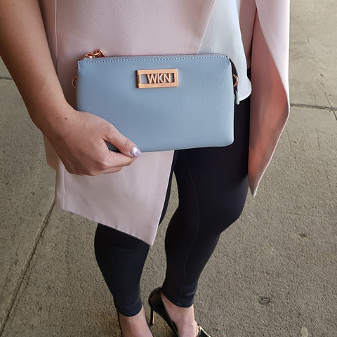 Barcelona grey rose gold bag clutch
