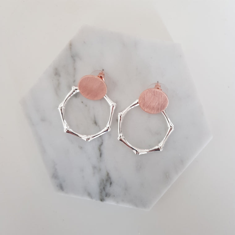 Rose gold and silver earrings