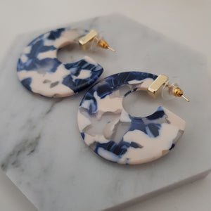 Blue marbled cresent earrings